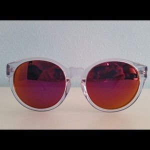AQS DAISY MIRRORED SUNGLASSES PINK/CLEAR